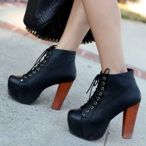 Jeffrey Campbell Lita black platform booties